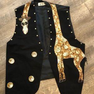 Fabulous [Vintage] Giraffe Sequin Vest